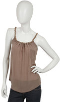 Washed Silk Crepe Rouched Neck Tank with Pocket in Driftwood or Black
