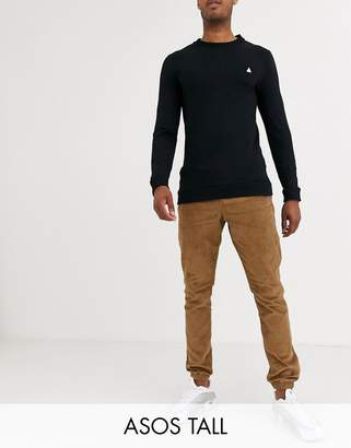 Asos Design DESIGN Tall tapered joggers in tan cord-Beige