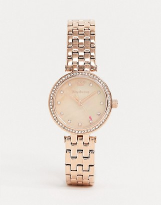 Juicy Couture Rose Gold Watch with Diamante Crown Logo