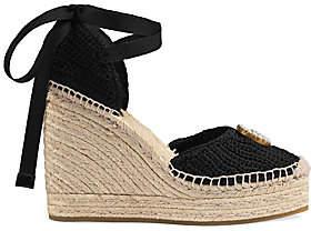Gucci Women's GG Crochet Espadrille Wedge Sandals