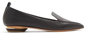 Nicholas Kirkwood Beya Point-toe Grained-leather Loafers - Womens - Black