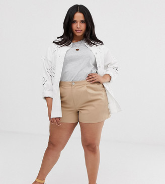 Asos DESIGN Curve chino short in stone