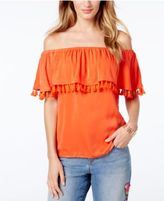 INC International Concepts Petite Tassel-Trim Off-The-Shoulder Top, Only at Macy's