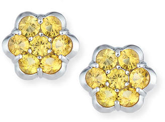 Bayco Platinum & Yellow Sapphire Floral Stud Earrings