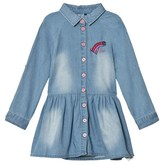 GUESS Blue Denim Shirt Dreess with Embroidered Rainbow