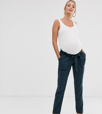 Mama Licious Mamalicious Maternity tailored cargo pants in navy