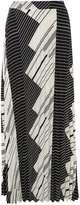Sripe Pleat Maxi Skirt