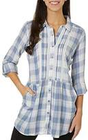 Vintage America Blues Women's Eloise Roll Sleeve Button Up Tunic Shirt with Pockets