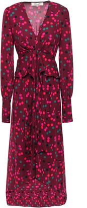 Diane von Furstenberg Asymmetric Gathered Printed Crepe Dress