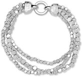 Nine West Silver-Tone Metallic Bead Multi-Row Stretch Bracelet