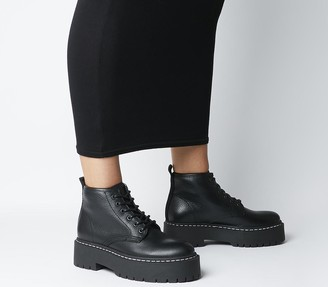 Office Absorb Chunky Lace Up Boots Black Leather