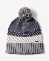 Express fair isle turnback pom beanie