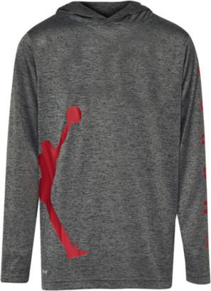 Jordan Vert Hooded Long Sleeve Top - Black / Cool Grey Gym Red