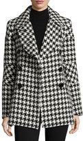 Sofia Cashmere Double-Breasted Houndstooth Peacoat, White/Black