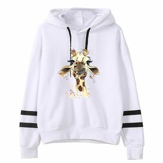 Sokmoop Women's Sweatshirts Giraffe Printed Long Sleeve Stripe Pullover Hoodie Round Neck Shirt Sweater Blouse Jacket Coat Hood Hooded Outerwear Cardigan Sweatshirt Thickened Peacoat(Black XXL)
