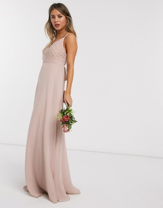 Asos Design DESIGN Bridesmaid cami maxi dress with ruched bodice and tie waist-Pink