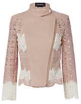 Yigal Azrouel Lace Blush Moto Jacket