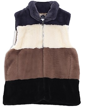 Echo Faux Fur Colorblock Zip Front Vest