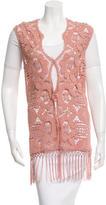 Miguelina Fringe-Trimmed Crochet Vest w/ Tags