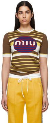 Miu Miu Brown Wool Intarsia Pullover