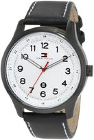 Tommy Hilfiger Men's 1710309 Classic Black IP Case and Blk leather strap Watch
