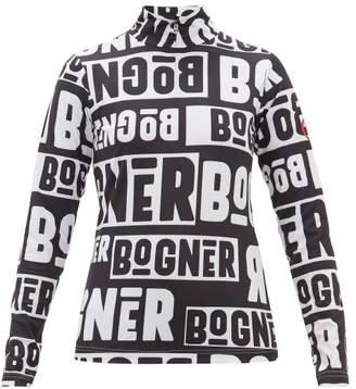 Bogner Beline Logo Print Quarter Zip Thermal Top - Womens - Black White