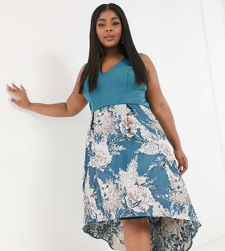 Chi Chi London Plus high low midi prom in teal floral