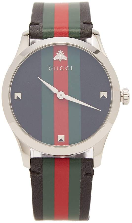 Gucci G-Timeless Web leather watch