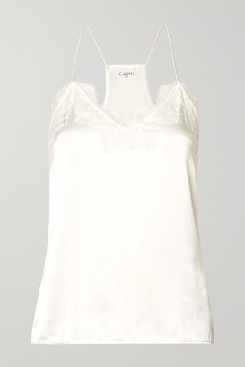 CAMI NYC The Racer Lace-trimmed Silk-charmeuse Camisole - White