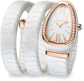 Bvlgari Serpenti White Ceramic & 18K Rose Gold Double Twist Bracelet Watch