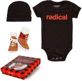 "Trumpette 3-Piece ""Radical"" Bodysuit, Hat & Socks Gift Set in Red/Black"