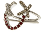 Rebecca Minkoff Pave Smiley Face Ring Set - Size 7