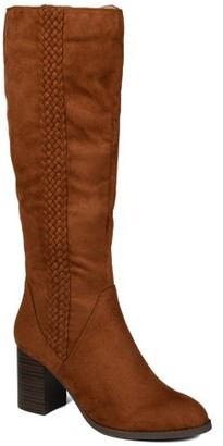 Brinley Co. Womens Extra Wide Calf Braid Detail Heeled Boot