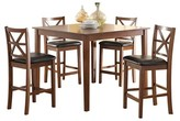 ACME Furniture 5 Piece Raotises Counter Height Dining Set Wood/Walnut/Espresso PU - Acme