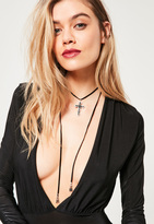 Missguided Black Cross Wrap Around Choker Necklace