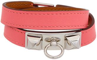 Hermes Palladium & Pink Enamel Rivale Double Tour Bracelet
