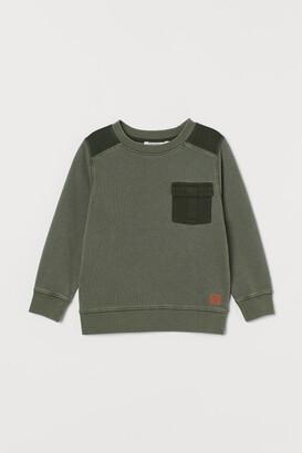 H&M Pocket-detail Sweatshirt - Green