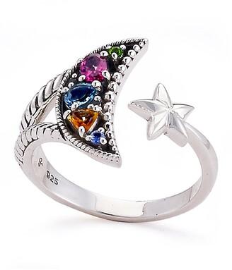 Samuel B. Sterling Silver Prong Set Gemstone Moon & Star Bypass Ring