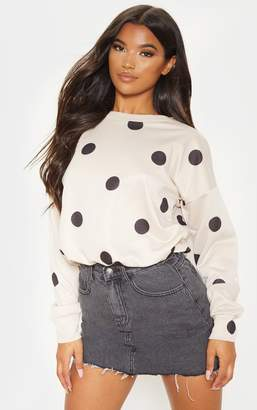 PrettyLittleThing Nude Polka Dot Printed Oversized Sweater