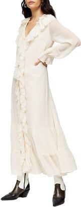 Topshop Frill Chiffon Long Sleeve Midi Dress