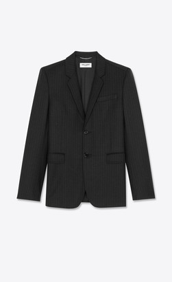 Saint Laurent Single-breasted Fitted Jacket In Chalk-striped Wool Twill Black 34