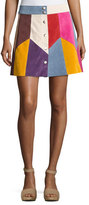Marc Jacobs Patchwork Suede A-Line Skirt, Light Blue/Multi