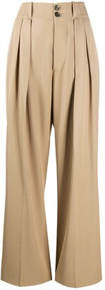 Plan C High-Waisted Wide Leg Trousers