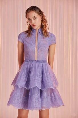 Tony Ward Tiered Cap Sleeve Mini Dress
