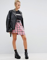The Ragged Priest Brushed Check Mini Skirt With Pin