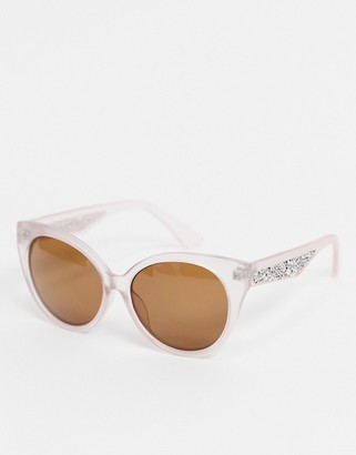A. J. Morgan AJ Morgan cat eye sunglasses in pink with embellishment