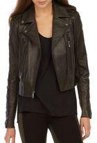 BCBGMAXAZRIA Isa Lace-Up Leather Moto Jacket