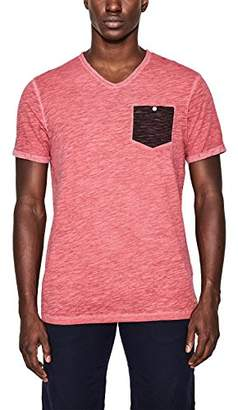 Esprit edc by Men's 067CC2K004 Slim Fit V-Neck Short Sleeve T - Shirt - Red - Large