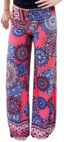 uxcell Ladies Floral Prints Elastic Waist Wide Leg Casual Pants