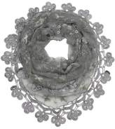 Dahlia Embroidered Lily Flower Beaded Metallic Thread Lace Triangle Scarf Shawl - Gray